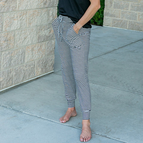 NEW! Sadie Black and Ivory Striped Joggers - Arrow Twenty Two