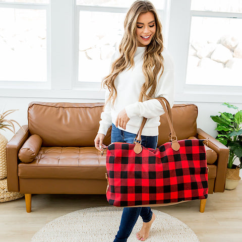 NEW! Red Buffalo Plaid Weekender Bag