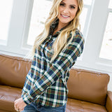 NEW! Amelia Navy, Green and Mocha Plaid Button Up Shirt - Arrow Twenty Two