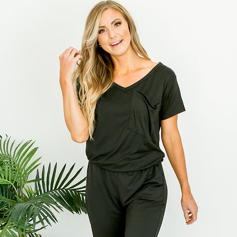 Black V Neck Jumpsuit - Arrow Twenty Two