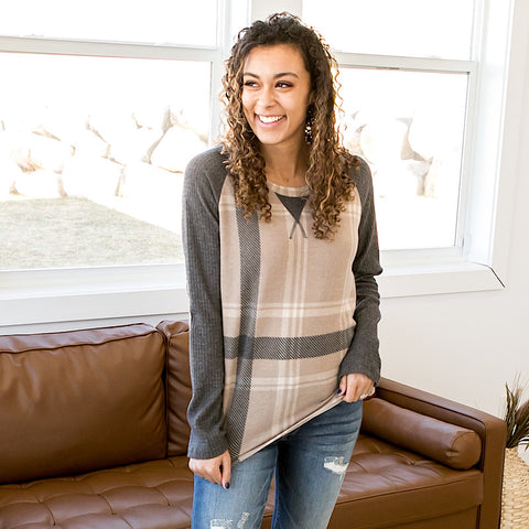 Greta Mocha Plaid Raglan Top
