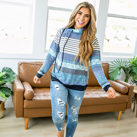 Pearl Navy, Blue and Mint Striped Hooded Top