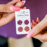 NEW! Burgundy Roses & Iridescent Gold Earrings - Arrow Twenty Two