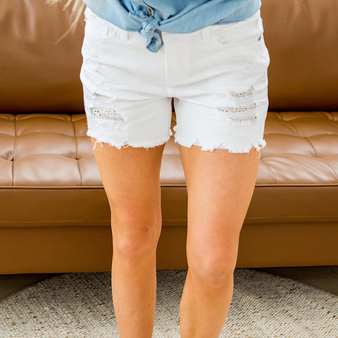 NEW! Judy Blue Haven White Distressed Shorts - Arrow Twenty Two