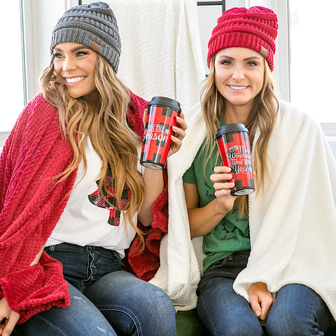DOORBUSTER! Buffalo Plaid Travel Mug - Arrow Twenty Two