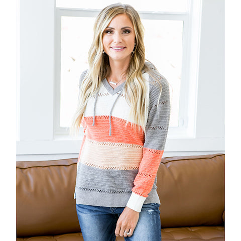 NEW! Jene Gray and Melon Hoodie Sweater - Arrow Twenty Two