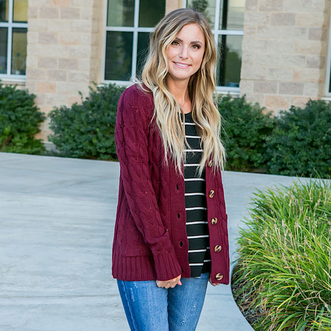 Burgundy Cable Knit Cardigan - Arrow Twenty Two
