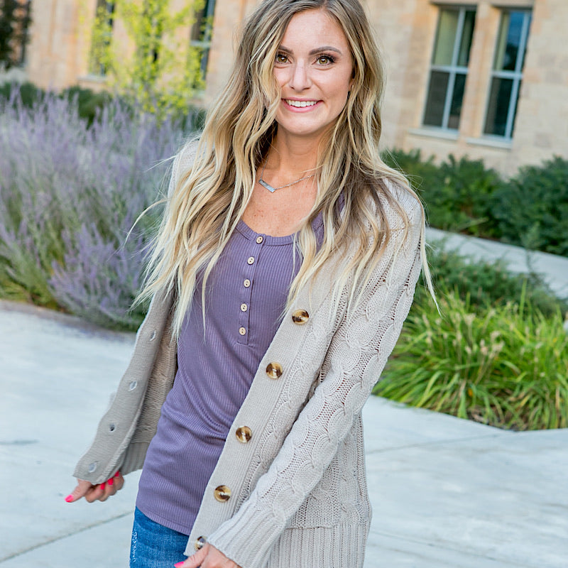 NEW! Warm Gray Cable Knit Cardigan - Arrow Twenty Two