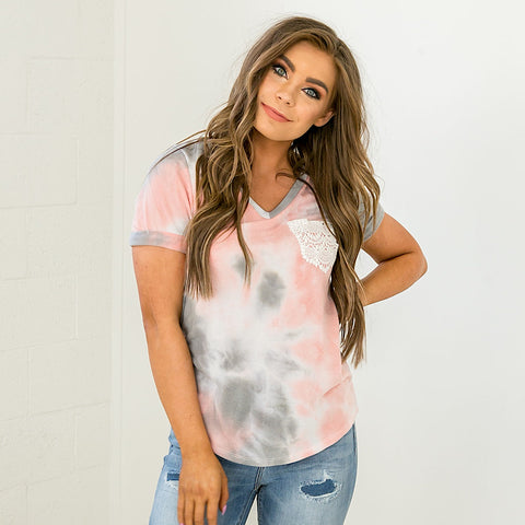 NEW! Pink and Gray Tie Dye Top with Crochet Pocket