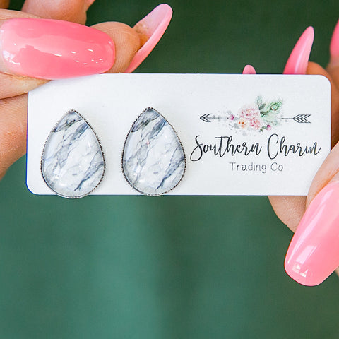 NEW! Gray Marble Teardrop Earrings - Arrow Twenty Two