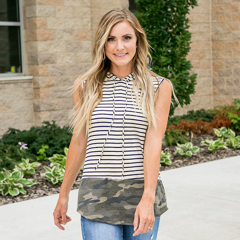 Ashley Stripe and Camo Hooded Tank