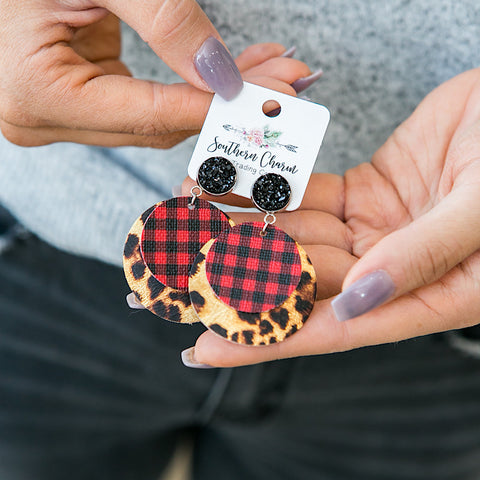 NEW! Red Buffalo Plaid and Leopard Layered Earrings