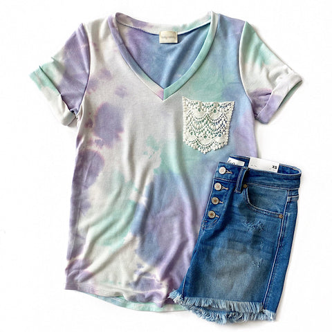 Lavender, Mint and Blue Tie Dye Top with Crochet Pocket