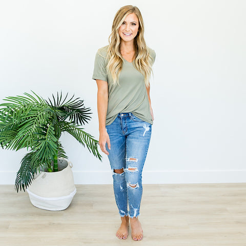 NEW! Everyday Light Olive V-Neck Top - Arrow Twenty Two