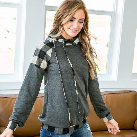 NEW! Gloria Charcoal Buffalo Plaid Hooded Top - Arrow Twenty Two