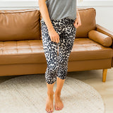 Gray Leopard Capri Sporty Leggings - Arrow Twenty Two