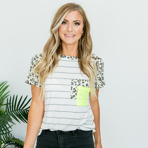 NEW! Heather Gray Striped and Neon Yellow Leopard Top - Arrow Twenty Two