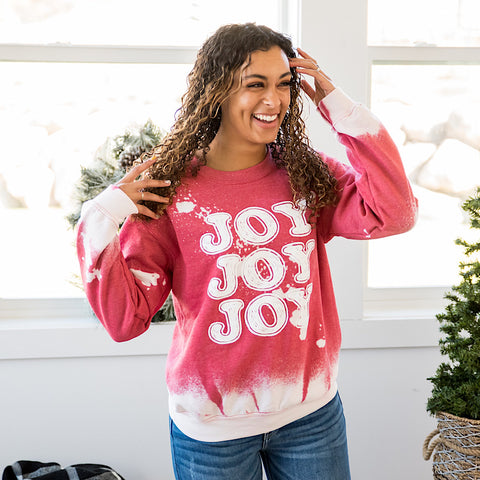 NEW! Joy Joy Joy Red Bleached Sweatshirt