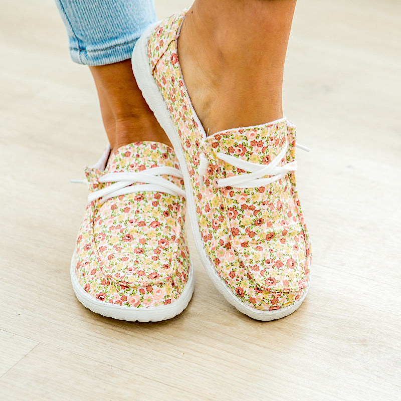 NEW! Gypsy Jazz Dahlia Slip On Sneakers - Peach Floral - Arrow Twenty Two