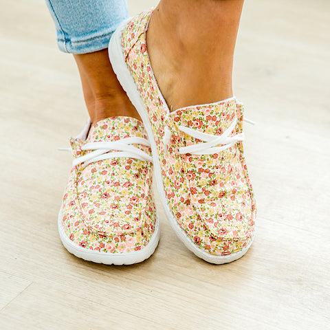 NEW! Gypsy Jazz Dahlia Slip On Sneakers - Peach Floral