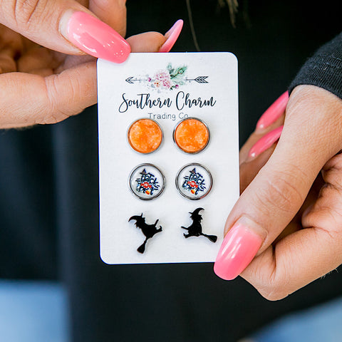 NEW! Orange, Trick or Treat and Black Witches Earrings Set