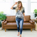 NEW! Londyn Charcoal Tie Dye V Neck Top - Arrow Twenty Two