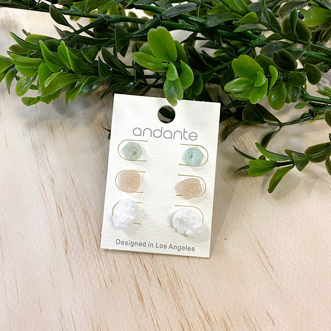 NEW! Stone Earrings - Set of 3