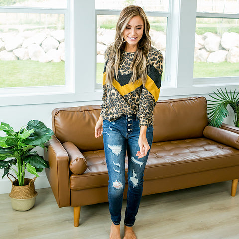 Josephine Leopard Top with Charcoal and Mustard V Detail