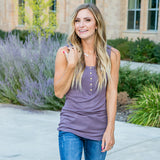 NEW! Lainey Plum Ribbed Button Up Tank - Arrow Twenty Two