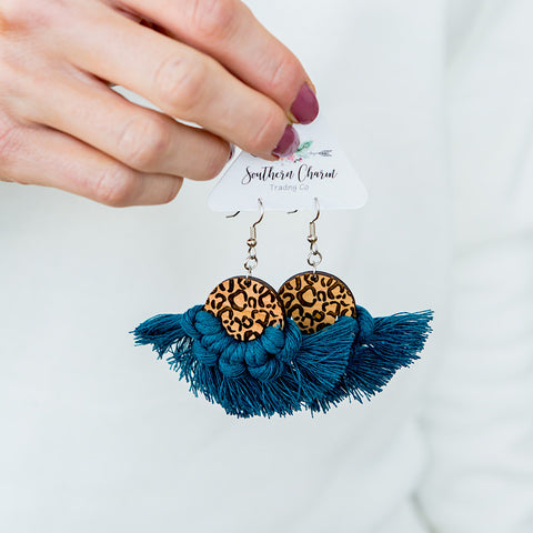 NEW! Josie Macrame and Leopard Earrings - Peacock