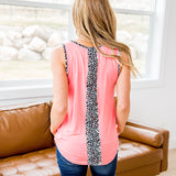 NEW! Ashlynn Coral Tank with Leopard Detail - Arrow Twenty Two