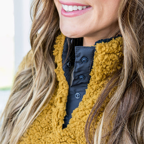 NEW! Dijon Mustard and Navy Sherpa Pullover - Arrow Twenty Two