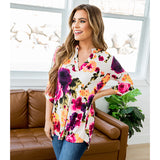 NEW! Karina Bright Floral 3/4 Sleeve Blouse - Arrow Twenty Two