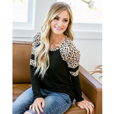 Adalyn Black Long Sleeve Top with Cheetah Spots - Arrow Twenty Two