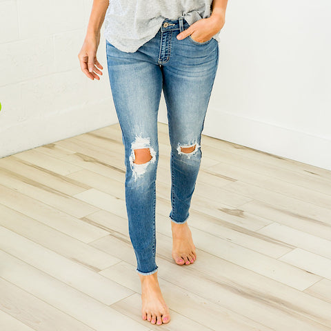 Distressed Knee and Fray Bottom Jeans