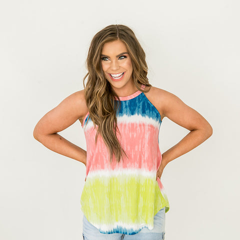 NEW! Blue, Pink and Lime Tie Dye Tank