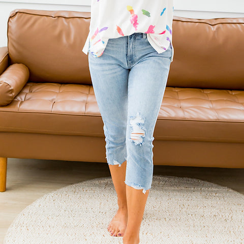 NEW! KanCan Medium Wash Distressed Capris