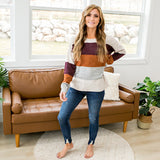 NEW! Joanna Cranberry, Rust, Heather Gray and Cream Sweater - Arrow Twenty Two