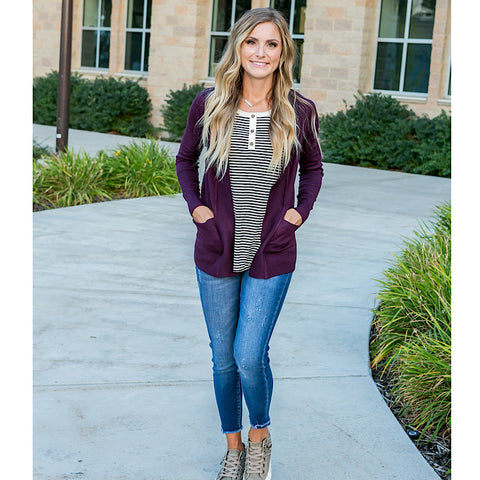 Favorite Cardigan - Dark Purple - Arrow Twenty Two