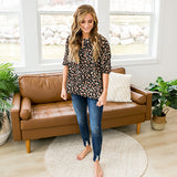 NEW! Elizabeth Black Leopard Blouse - Arrow Twenty Two