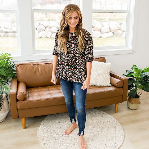 NEW! Elizabeth Black Leopard Blouse