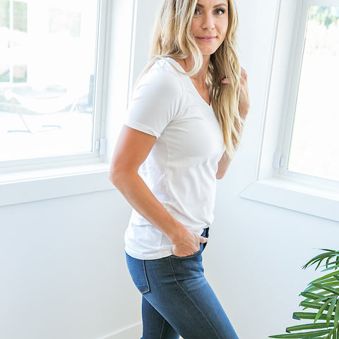 Favorite V-Neck Top - White - Arrow Twenty Two