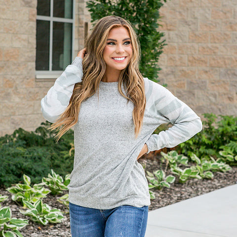 NEW! Heidi Heather Gray Top with Faded Camo Sleeves - Arrow Twenty Two