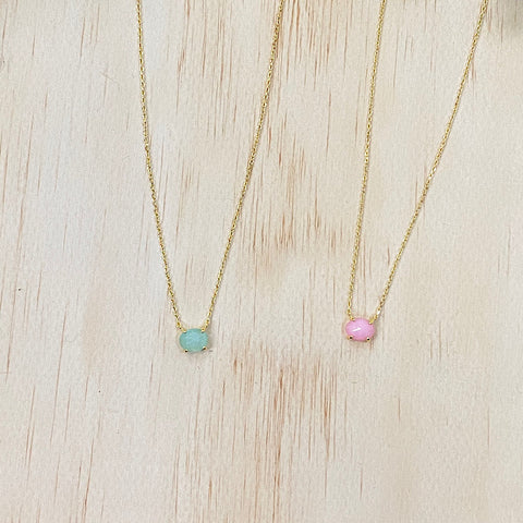 Small Stone Dainty Necklace - Mint or Pink - Arrow Twenty Two