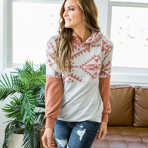 NEW! Rebecca Rust Aztec and Heather Gray Hooded Top - Arrow Twenty Two