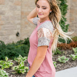 NEW! Madison Mauve, Leopard and Sequin Top - Arrow Twenty Two