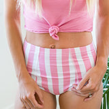 Pink Striped High Waist Swim Bottoms - Arrow Twenty Two