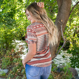 NEW! Dakota Rust Aztec V Neck Top - Arrow Twenty Two