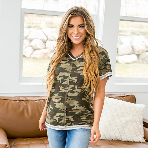 NEW! Monica Camo Stitch Detail V Neck
