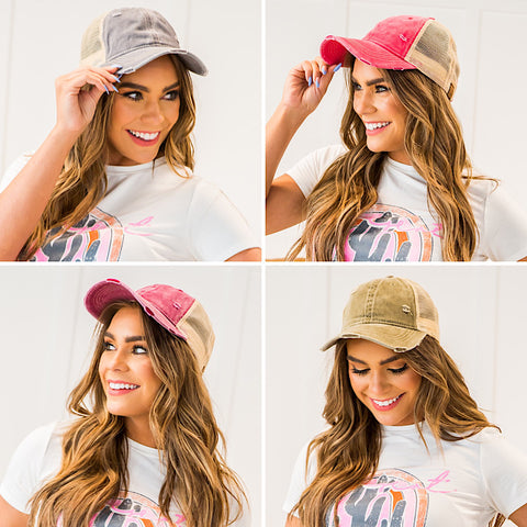 NEW! CC Ponytail Baseball Cap - 4 Colors